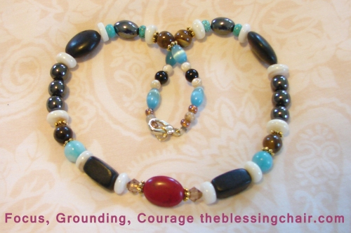 Purpose:  Strengthens courage, ability to move forward, positive attitude, grounding, protection Stones:  Red and Black Jasper, Mother of Pearl, Hematite, Tiger's Eye
